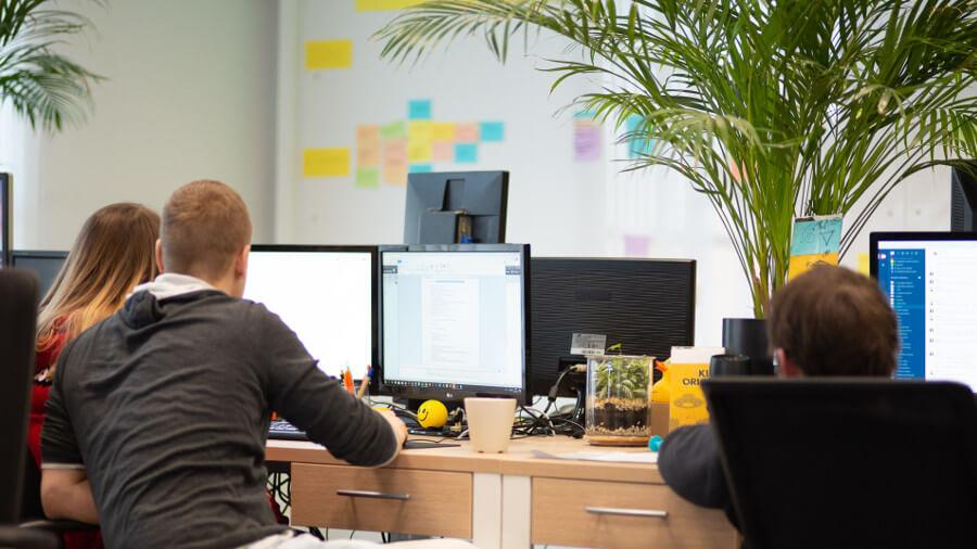 Zespół podczas pracy w biurze